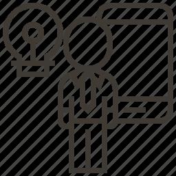 bulb, device, light bulb, person icon