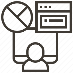chart, device, graph, person, presentation icon