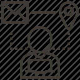 envelope, location, navigation, person icon