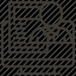 document, file, monitor, person, screen icon