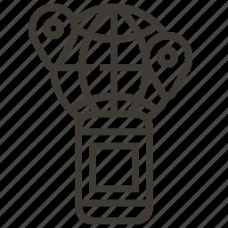 communication, device, globe, world icon