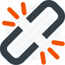 broken, broken link, chain, hyperlink, link, share icon icon