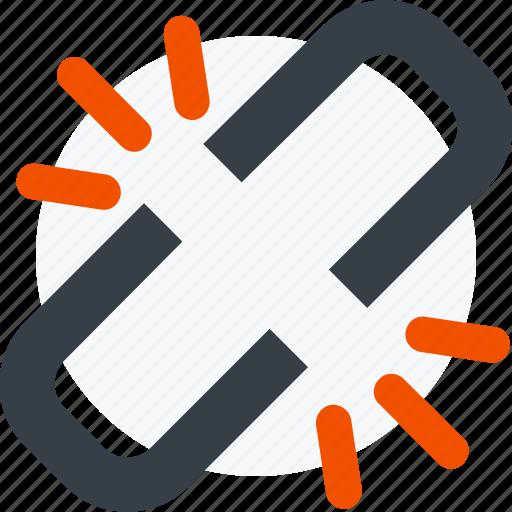 broken, broken link, chain, hyperlink, link, share icon icon