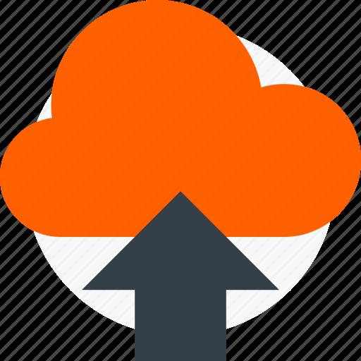 arrow, cloud, icloud, upload, uploading, upward icon icon