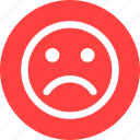 angry, circle, depressed, dislike, face, sad, unhappy icon
