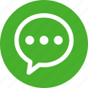 bubble, chat, chatting, circle, comment, green, message icon