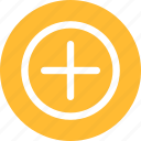 add, circle, linecon, more, plus, round, yellow icon