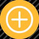 circle, yellow, add, linecon, more, plus, round
