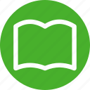 book, bookmark, circle, education, favorite, green, learn icon
