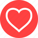 circle, favorite, heart, like, love, outline, romance icon