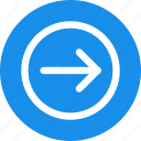 arrow, blue, circle, direction, right icon