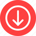arrow, circle, direction, download, red icon