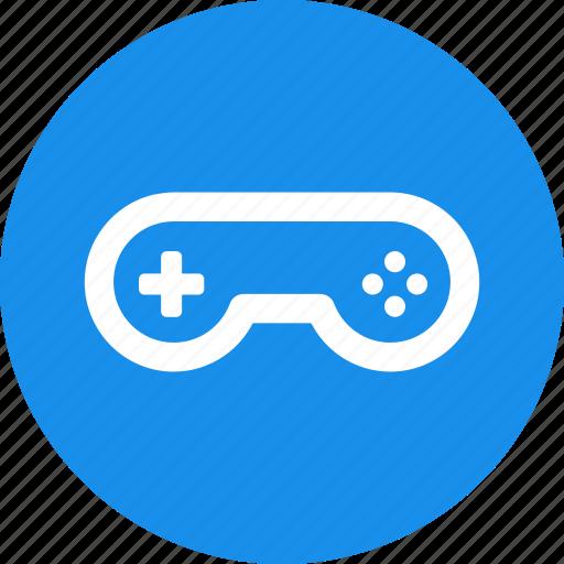 arcade, blue, circle, controller, game, gamepad, gaming icon