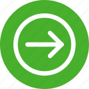 arrow, circle, direction, green, right icon