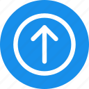 arrow, blue, circle, direction, up, update, upload icon