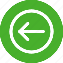 arrow, circle, direction, green, left icon