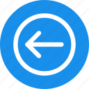 arrow, blue, circle, direction, left icon