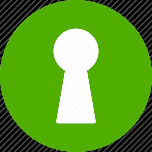 access, door, green, hole, key, keyhole, unlock icon