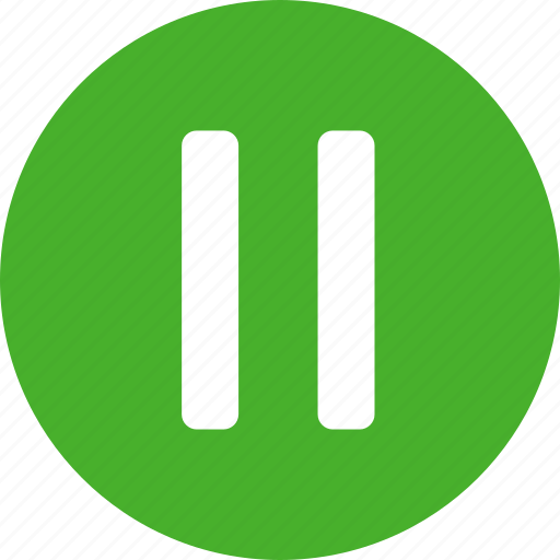 circle, green, media, pause, player icon