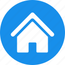 blue, building, circle, estate, home, house, real icon