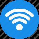 blue, network, signal, wifi, internet, circle icon