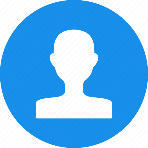 account, avatar, blue, circle, male, profile, user icon