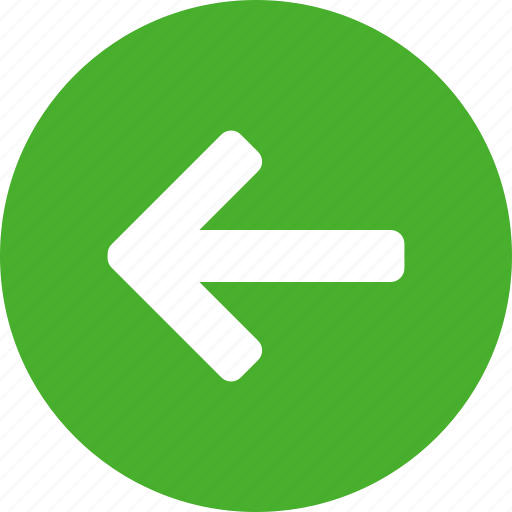 arrow, circle, direction, green, left, previous, west icon