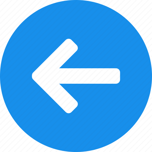 arrow, back, blue, circle, left, previous, west icon