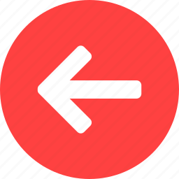 arrow, back, circle, left, previous, red, west icon