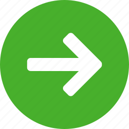 arrow, circle, east, forward, green, next, right icon