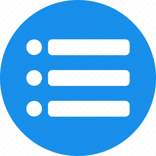 blue, checklist, circle, feed, list, playlist, tasks icon