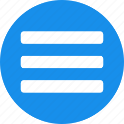 blue, circle, hamburger, list, menu, options, stack icon