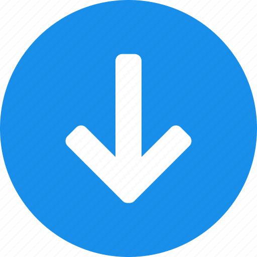 arrow, blue, circle, descend, down, downward icon