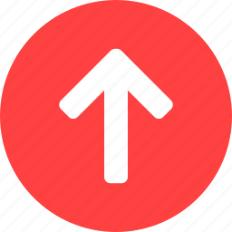 arrow, circle, climb, direction, north, red icon