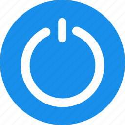 blue, circle, close, exit, off, power icon