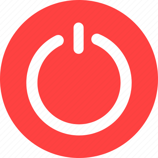 circle, close, exit, off, power, red icon