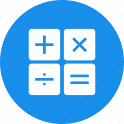 accountant, accounting, blue, calculate,calculation, circle icon