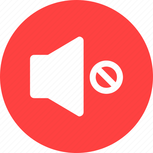 control, mute, player, red, silent, sound, volume icon