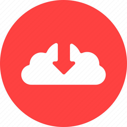 arrow, cloud, control, down, download, guardar, red, save icon