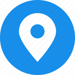 address, blue, circle, location, map, marker icon