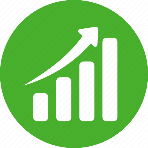 blue, chart, circle, graph, green, revenue growth, sales icon