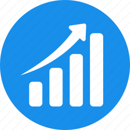 blue, chart, circle, graph, revenue growth icon