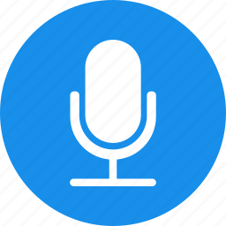 blue, circle, mic, microphone, recording, speaker icon