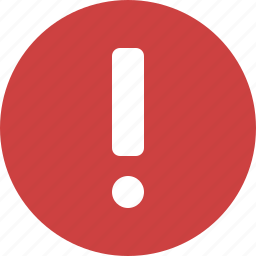alert, caution, danger, error, exclamation, red, warning icon
