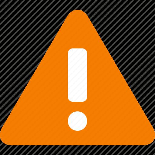 alert, attention, caution, danger, exclamation, orange, warning icon