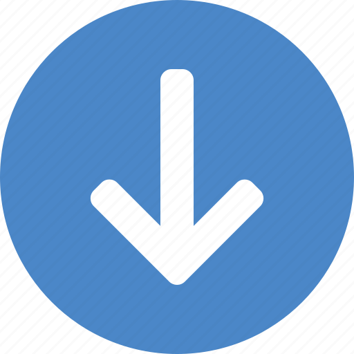 arrow, blue, circle, descend, down, downward, south icon
