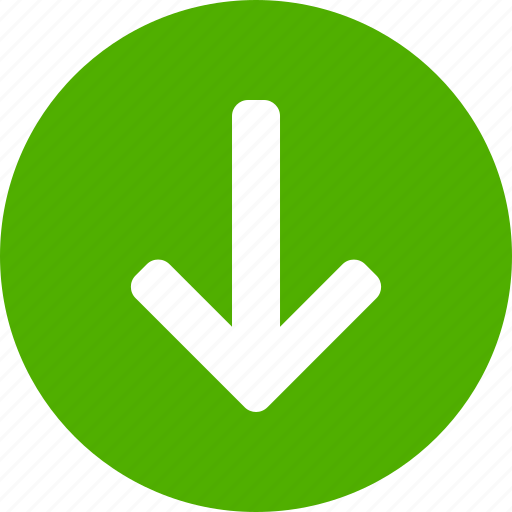arrow, circle, descend, down, downward, green, south icon