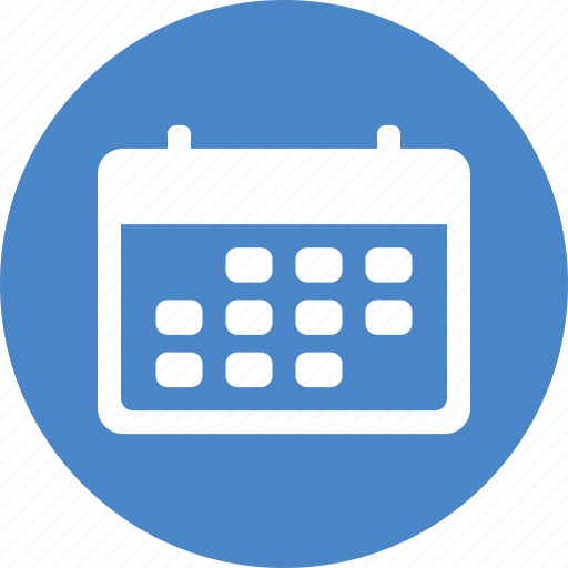 Calendar Icon Blue : Blue calendar circle date month planner schedule icon