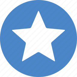 achievement, blue, bookmark, circle, favorite, ranking, star icon