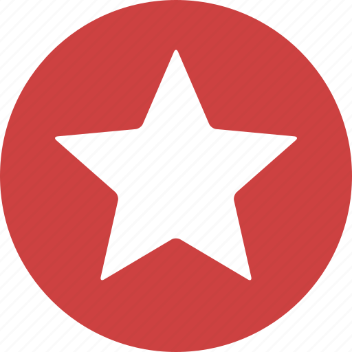 achievement, bookmark, circle, favorite, ranking, red, star icon